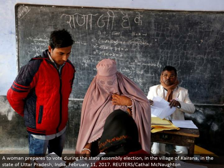 A lady gets ready to vote amid the state gathering decision, in the town of Kairana, in the condition of Uttar Pradesh, India, February 11, 2017. REUTERS/Cathal McNaughton