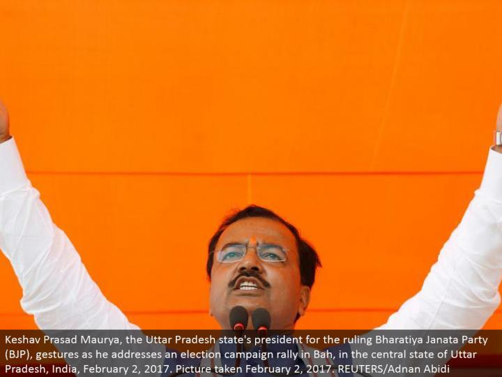 Keshav Prasad Maurya, the Uttar Pradesh state's leader for the decision Bharatiya Janata Party (BJP), motions as he addresses a race battle rally in Bah, in the focal condition of Uttar Pradesh, India, February 2, 2017. Picture taken February 2, 2017. REUTERS/Adnan Abidi