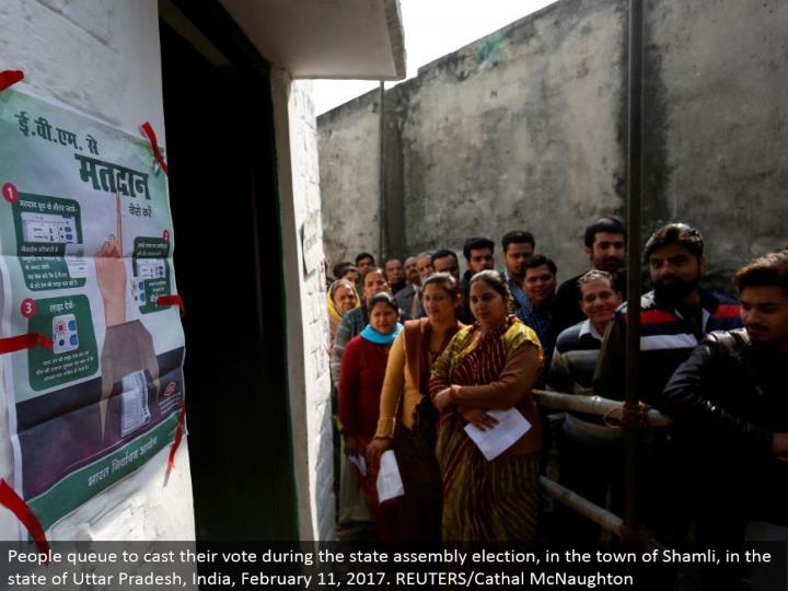People line to make their choice amid the state get together decision, in the town of Shamli, in the condition of Uttar Pradesh, India, February 11, 2017. REUTERS/Cathal McNaughton