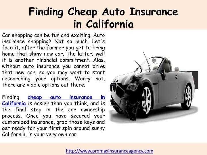 Cheap Auto Insurance In California PowerPoint
