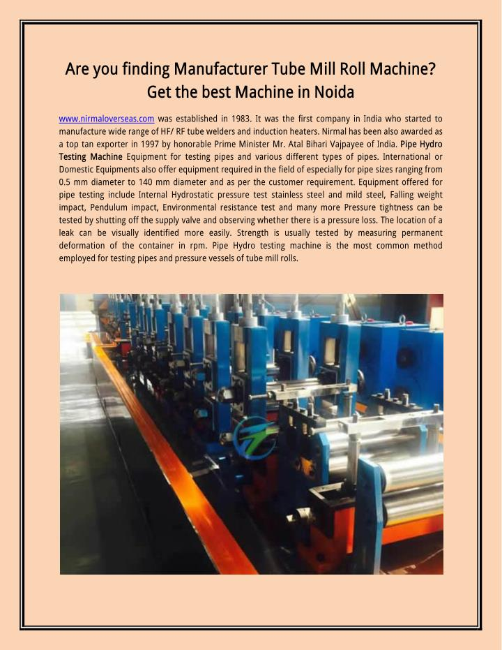 are you finding manufacturer tube mill roll n.