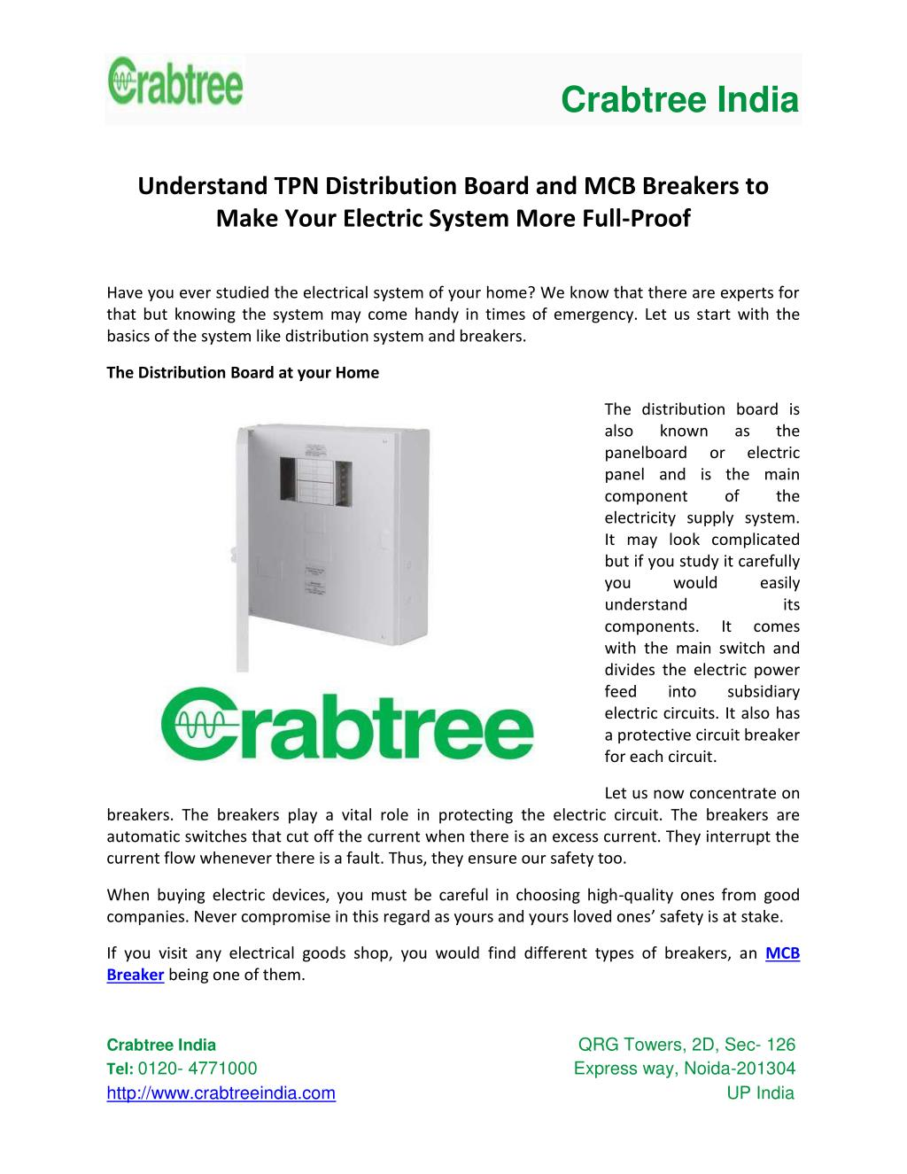 Ppt Understand Tpn Distribution Board And Mcb Breakers To Make Circuit Breaker Is A Device Designed Protect Circuit39s Crabtree India N