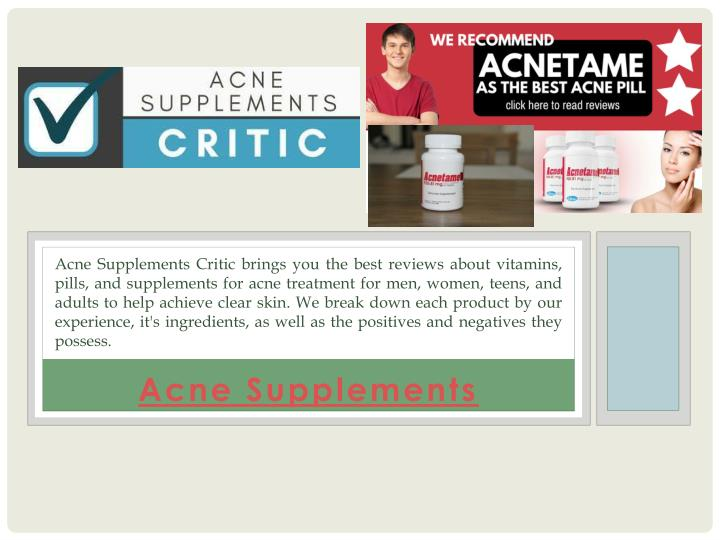 acne supplements n.