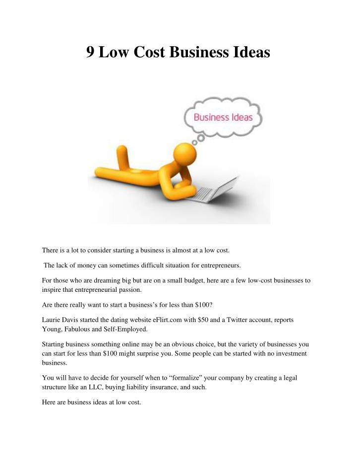 9 low cost business ideas n.