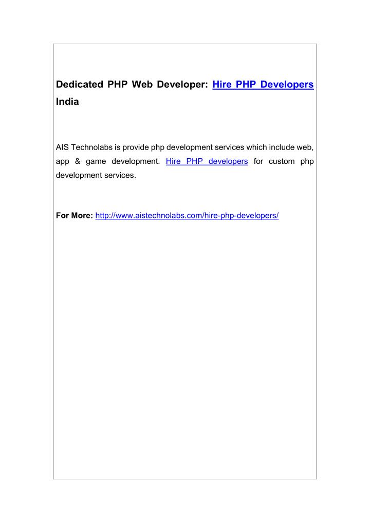 dedicated php web developer hire php developers n.