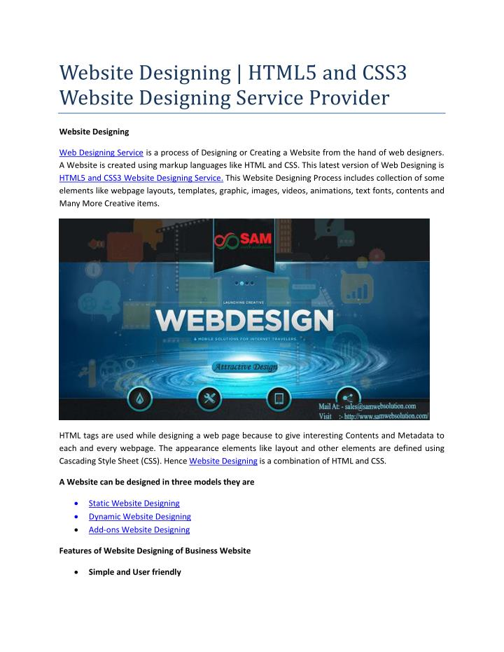 Ppt Website Designing Html5 And Css3 Website Designing Service Provider Powerpoint Presentation Id 7511438