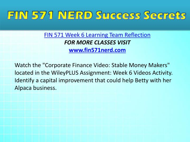 fin 571 week 6 Fin 571 week 6 capital budgeting assignment, part 2 the executive team of snc has completed the decision making for capital budgeting for the firm now the team must decide which decisions and approach were the best for the company.