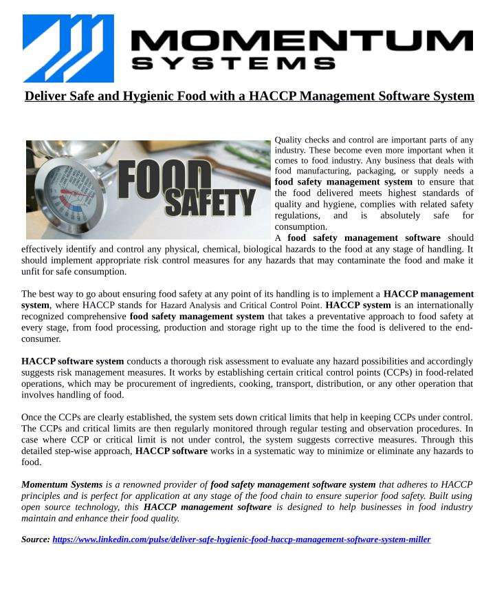 deliver safe and hygienic food with a n.