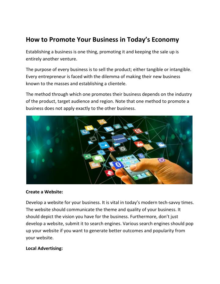 how to promote your business in today s economy n.