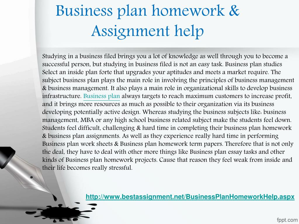 Help with business plan assignment