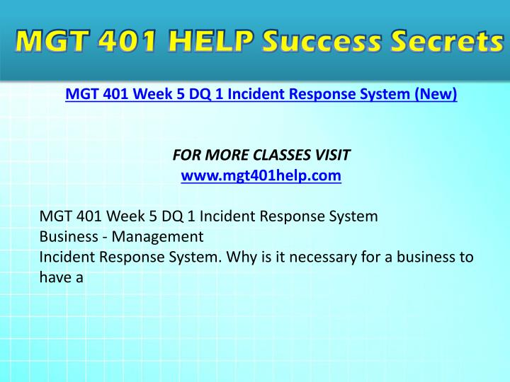 mgt 401 week 4 risk assessment Find answers on: mgt 401 week 4 risk assessment plan more than 1000 tutors online.