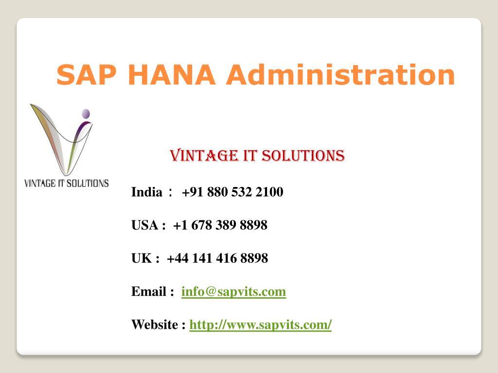 PPT - SAP HANA Administration Training Singapore PowerPoint