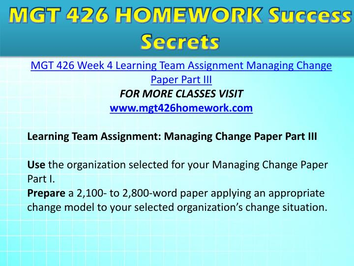 managing change paper part i Database of free management essays change management within for providing me the task of preparing the term paper on company's product line.