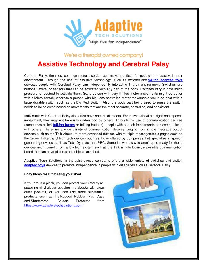 assistive technology and cerebral palsy n.
