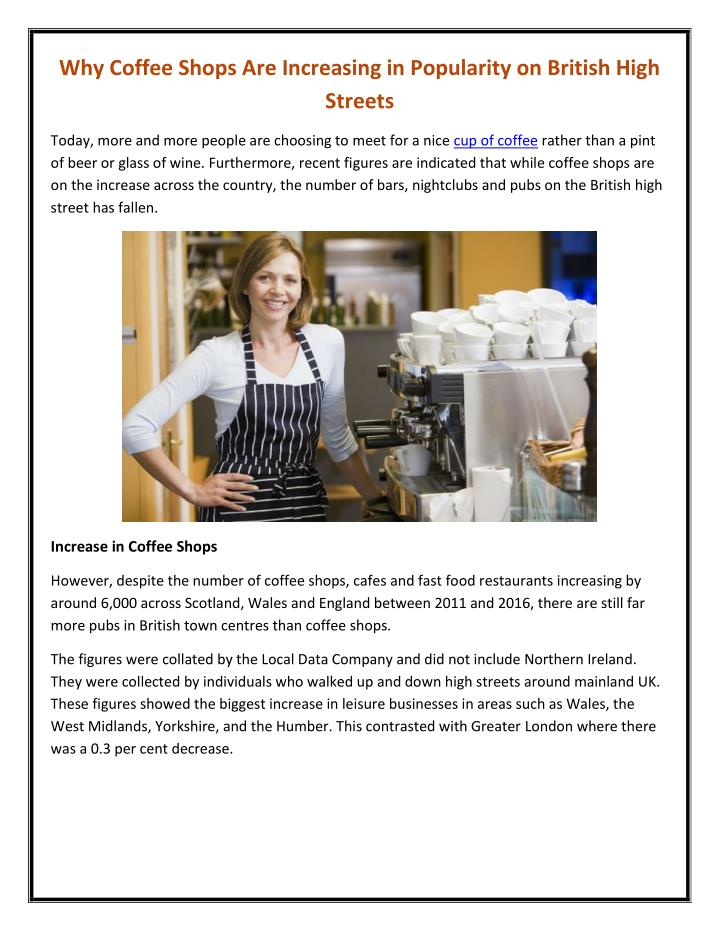 why coffee shops are increasing in popularity n.
