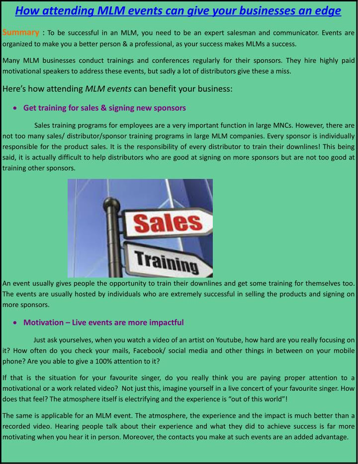 PPT - How attending MLM events can give your businesses an edge