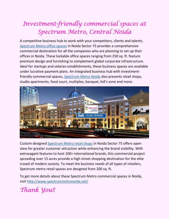 PPT - Investment-friendly commercial spaces at Spectrum