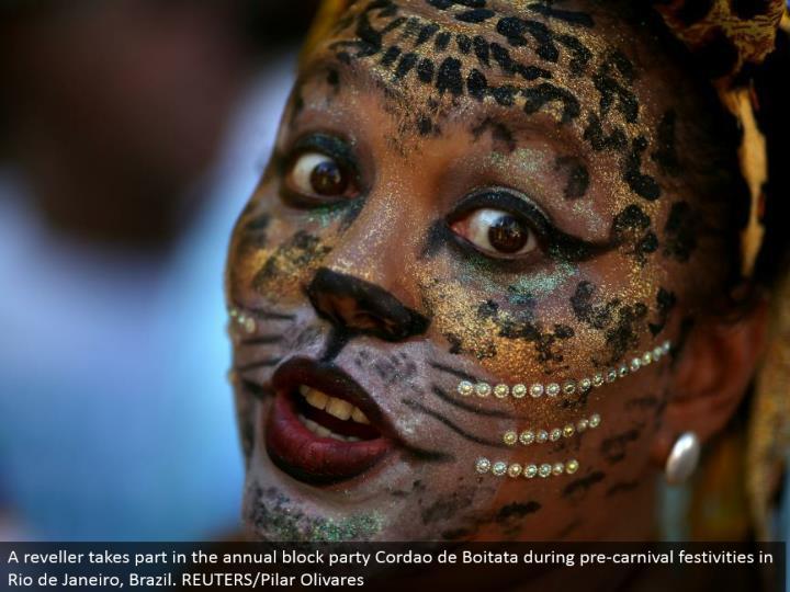 A reveler participates in the yearly square gathering Cordao de Boitata amid pre-jubilee merriments in Rio de Janeiro, Brazil. REUTERS/Pilar Olivares