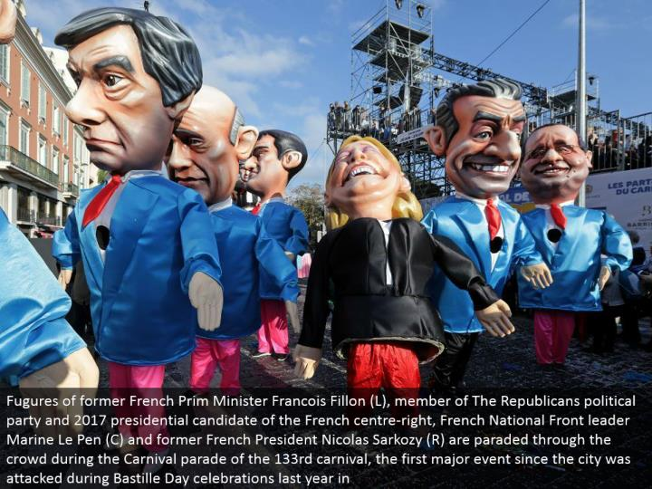 Fugures of previous French Prim Minister Francois Fillon (L), individual from The Republicans political gathering and 2017 presidential competitor of the French focus right, French National Front pioneer Marine Le Pen (C) and previous French President Nicolas Sarkozy (R) are paraded through the group amid the Carnival parade of the 133rd festival, the main significant occasion since the city was assaulted amid Bastille Day festivities a year ago in