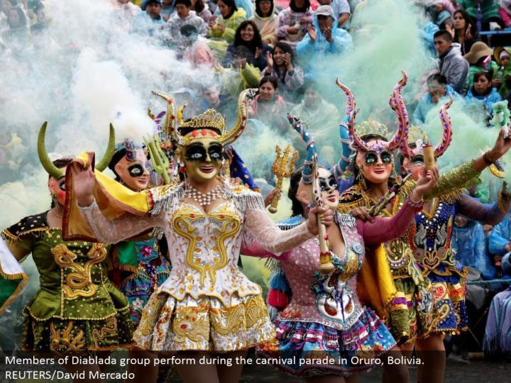 Members of Diablada gathering perform amid the jubilee parade in Oruro, Bolivia. REUTERS/David Mercado