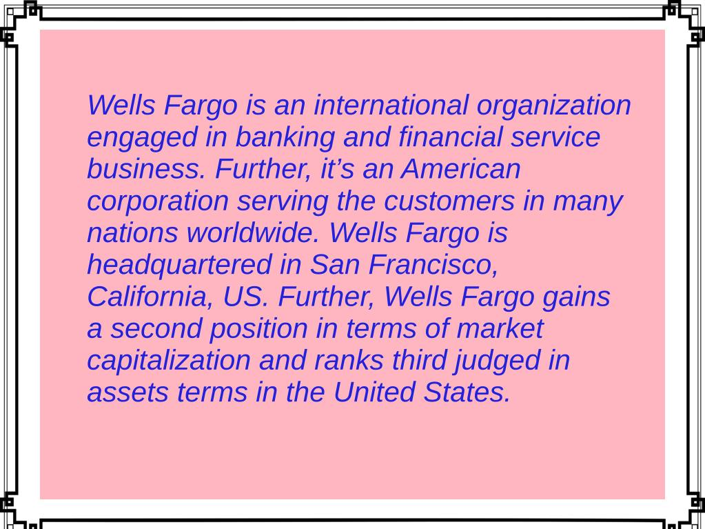 PPT - About Wells Fargo Bank PowerPoint Presentation - ID