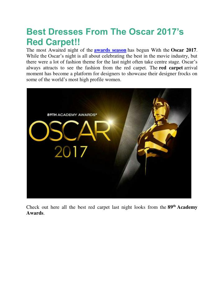 best dresses from the oscar 2017 s red carpet n.