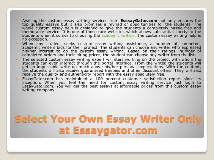 Quality custom essay services