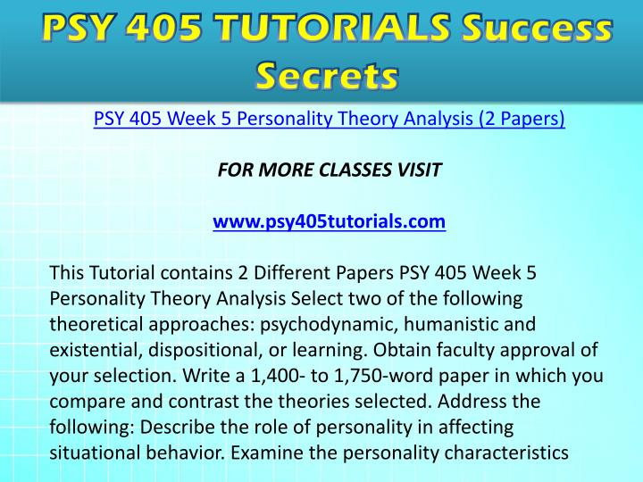Psy 405 week 2 personality overview