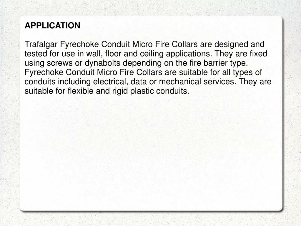 PPT - Micro Conduit Fire Rated Collars PowerPoint