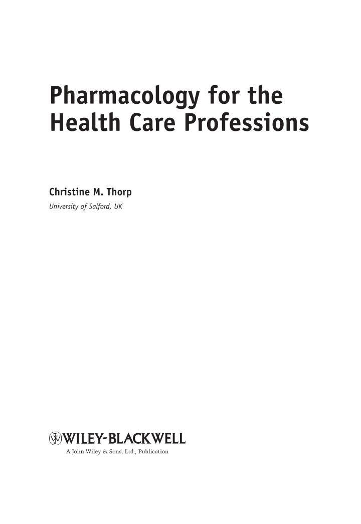 pharmacology for the health care professions n.
