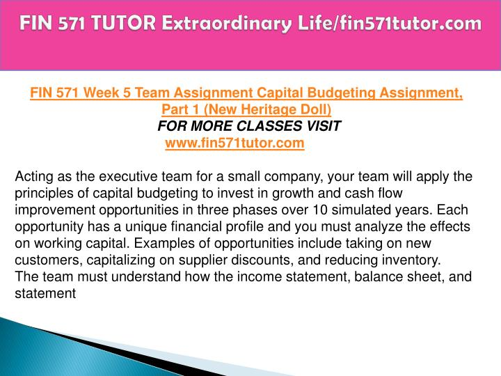new heritage doll company capital budgeting simulation a