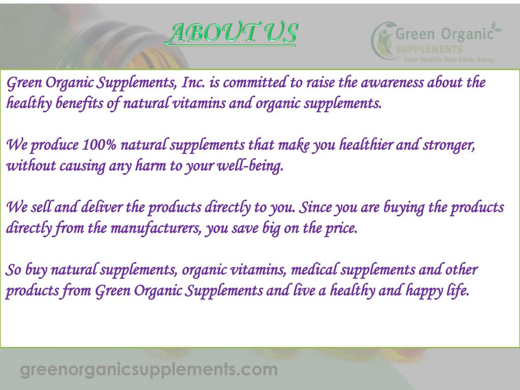 PPT - Organic Vitamins And Supplements PowerPoint