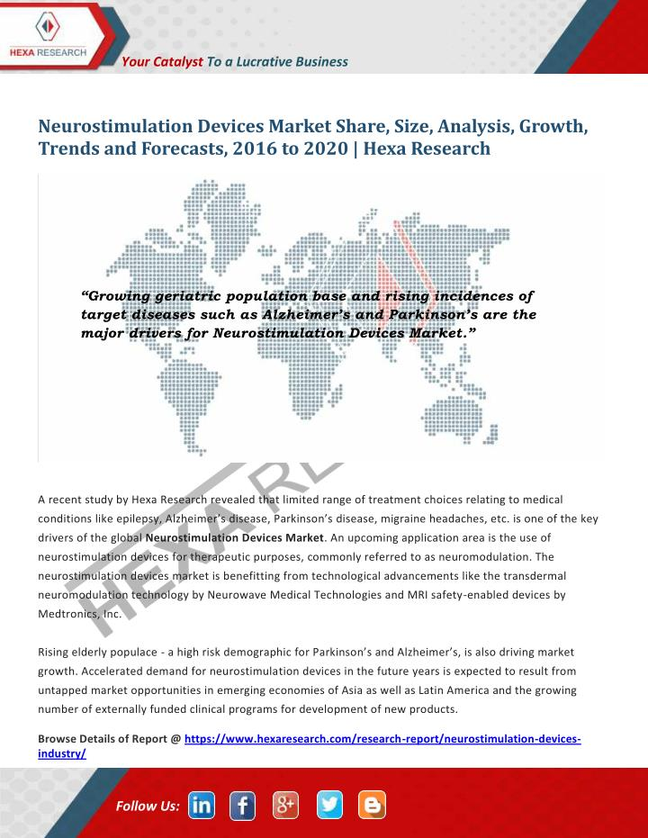 global neurostimulation devices market is expected Global neurostimulation device market device market the north american region is expected to wraps, neurostimulation devices) - global.