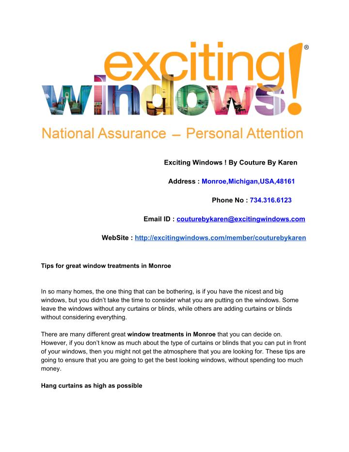 exciting windows by couture by karen n.