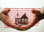 before purchasing a real estate property make