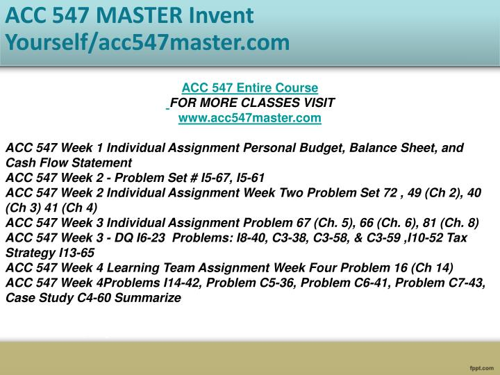 problem set week 3 acc 547 Acc 547 week 5 individual assignment week five problem set click to enlarge price: $499 problem 39 (ch 19.