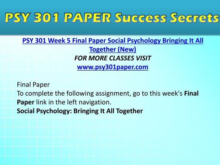 psy 301 week 5 final paper