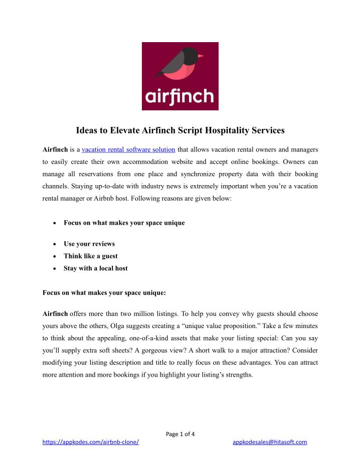 ideas to elevate airfinch script hospitality n.