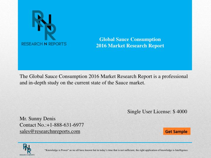 global sauce consumption 2016 market research n.