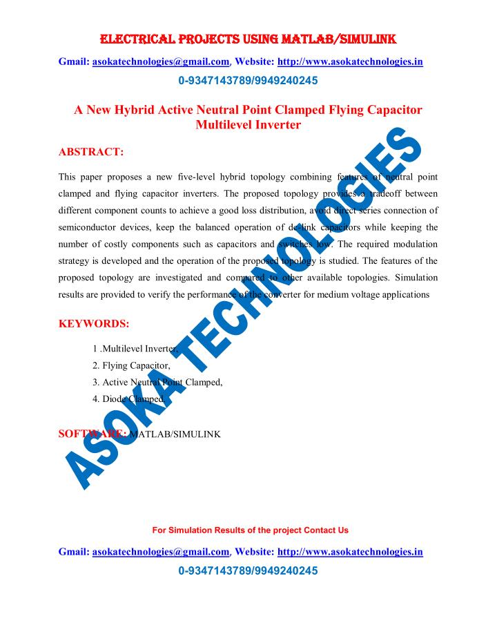 PPT - A New Hybrid Active Neutral Point Clamped Flying Capacitor
