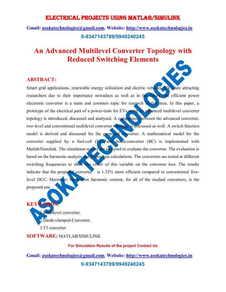 electrical projects using matlab simulink n.