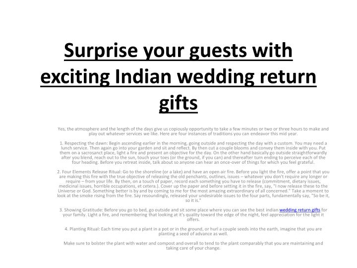 Ppt Surprise Your Guests With Exciting Indian Wedding Return Gifts