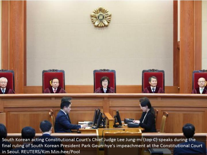 south koreas constitutional court After months of political wrangling, legal drama and historic protests, a court has removed south korean president park geun-hye from office the constitutional court.