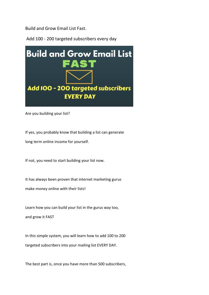 PPT - Build and grow email list fast PowerPoint Presentation