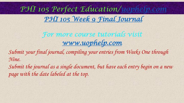phi 105 final journal Phi 105 checkpoint:final project preview final project preview resource: appendix b and appendix a complete the final project preview worksheet in appendix b using the notes you have taken from class discussion and.