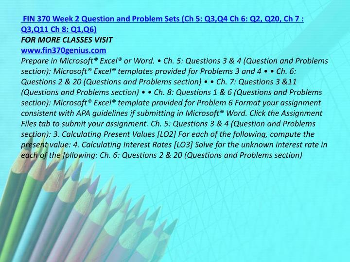 fin 370 week 2 problems
