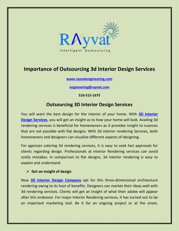 Ppt Importance Of Outsourcing 3d Interior Design Services Powerpoint Presentation Id 7528754