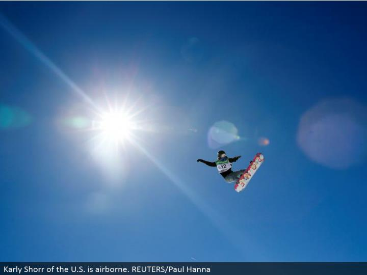 Karly Shorr of the U.S. is airborne. REUTERS/Paul Hanna