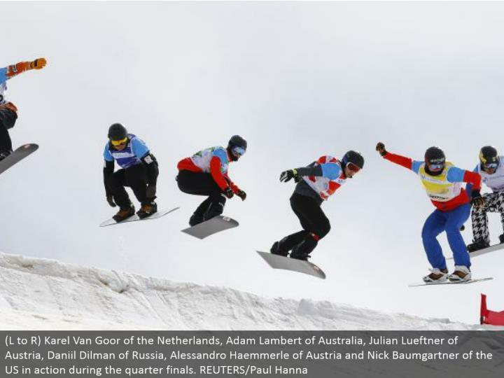 (L to R) Karel Van Goor of the Netherlands, Adam Lambert of Australia, Julian Lueftner of Austria, Daniil Dilman of Russia, Alessandro Haemmerle of Austria and Nick Baumgartner of the US in real life amid the quarter finals. REUTERS/Paul Hanna