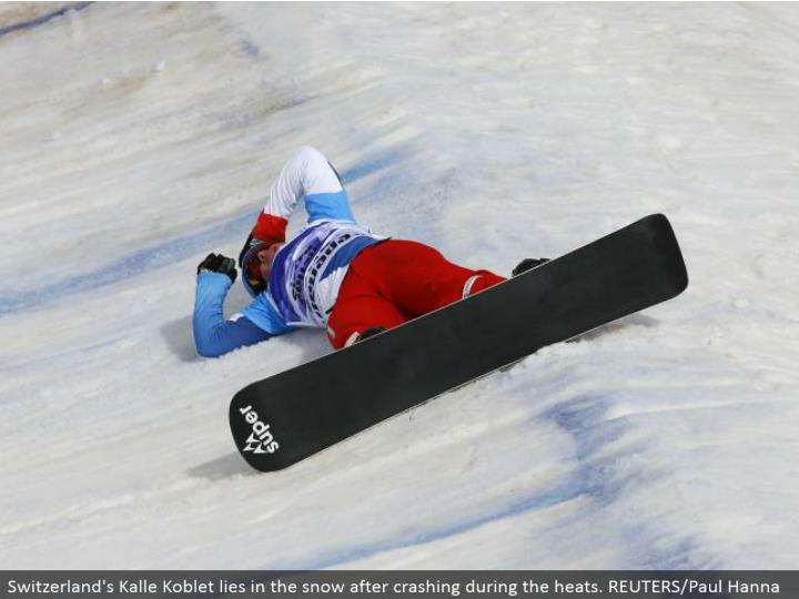 Switzerland's Kalle Koblet lies in the snow subsequent to smashing amid the warms. REUTERS/Paul Hanna